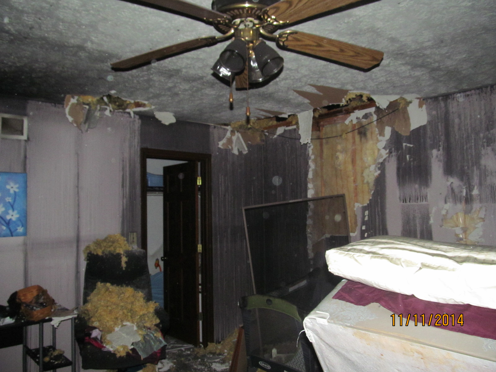 Bedroom Fire and Smoke Damage